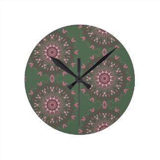Relógio Redondo Azeitona ornamentado da mandala de Boho