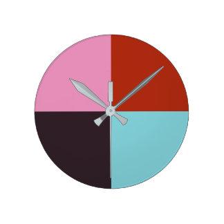 Relógio Redondo Azul cor-de-rosa vermelho da beringela
