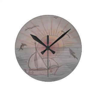 Relógio Redondo Azul do sol do divertimento