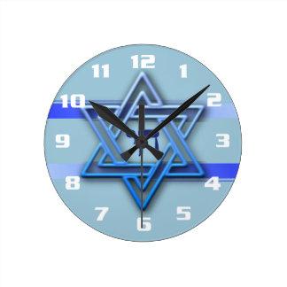 Relógio Redondo Azul judaico lindo e branco da estrela de David