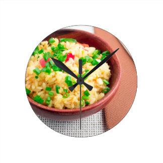 Relógio Redondo Bacia de madeira de arroz e de alho-porro