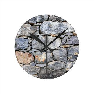 Relógio Redondo Backgound de pedras naturais como a parede