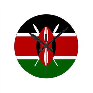Relógio Redondo Baixo custo! Bandeira de Kenya