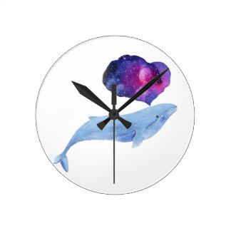 Relógio Redondo Baleia da aguarela