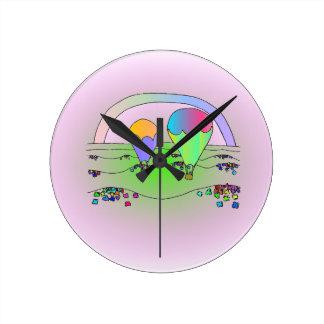 Relógio Redondo Balões de ar quente do arco-íris