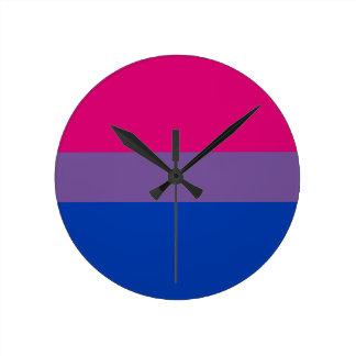 Relógio Redondo Bandeira bissexual do arco-íris do orgulho de LGBT
