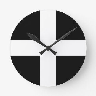 Relógio Redondo Bandeira da Cornualha de Piran Cornish do santo -
