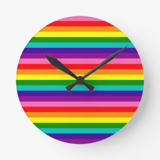 Relógio Redondo Bandeira das listras do original 8 do orgulho gay