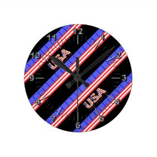 Relógio Redondo Bandeira das listras dos Estados Unidos