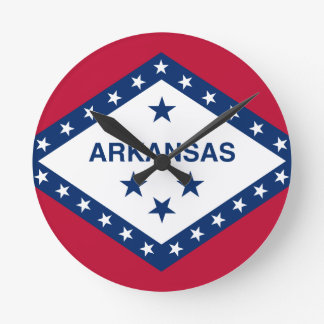 Relógio Redondo Bandeira de Arkansas