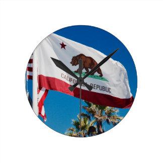 Relógio Redondo Bandeira de Califórnia