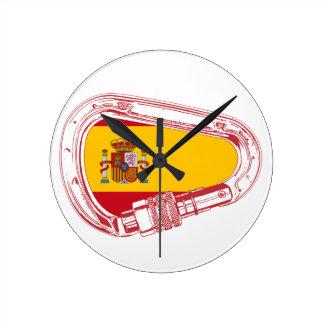 Relógio Redondo Bandeira de Carabiner da espanha
