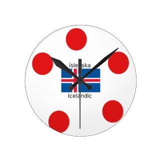 Relógio Redondo Bandeira de Islândia e design islandês da língua