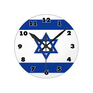 Relógio Redondo Bandeira de Israelian do pulso de disparo de