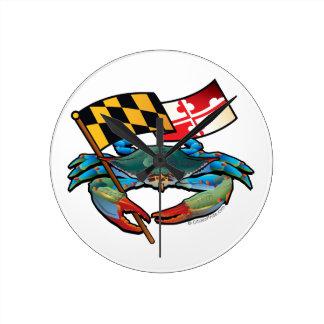 Relógio Redondo Bandeira de Maryland do caranguejo azul