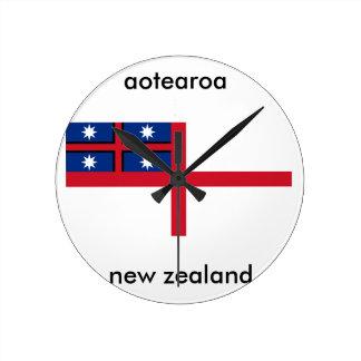 Relógio Redondo bandeira de Nova Zelândia do aotearoa