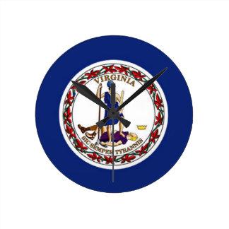 Relógio Redondo Bandeira de Virgínia