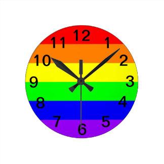 Relógio Redondo Bandeira do arco-íris do orgulho gay de LGBT! Hora