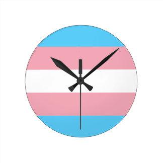 Relógio Redondo Bandeira do orgulho do Transgender - arco-íris do