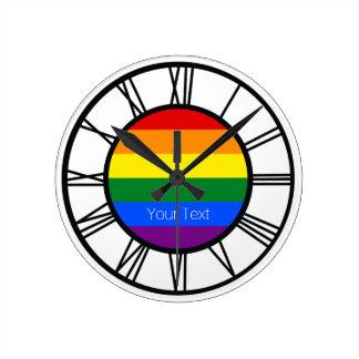Relógio Redondo Bandeira LGBT do arco-íris do orgulho gay