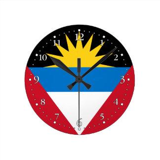 Relógio Redondo Bandeira patriótica de Antígua e de Barbuda