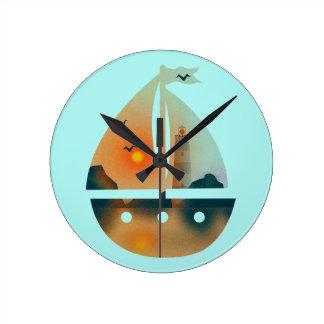 Relógio Redondo Barco de Sunset_sail