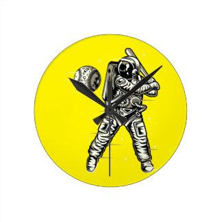 Relógio Redondo Basebol do espaço