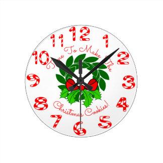 Relógio Redondo Bastões da grinalda & de doces do Natal
