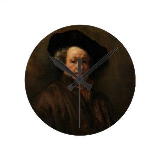 Relógio Redondo Belas artes do retrato de auto de Rembrandt Van