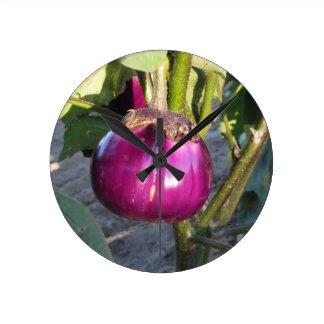Relógio Redondo Beringela redonda roxa que pendura na árvore