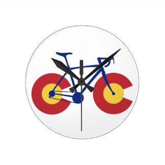 Relógio Redondo Bicicleta da bandeira de Colorado