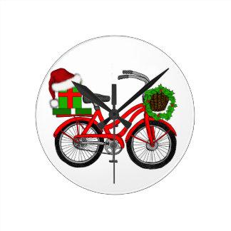 Relógio Redondo bicicleta do xmas