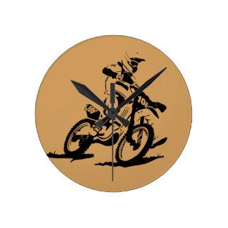 Relógio Redondo Bicicleta e cavaleiro simples de Motorcross