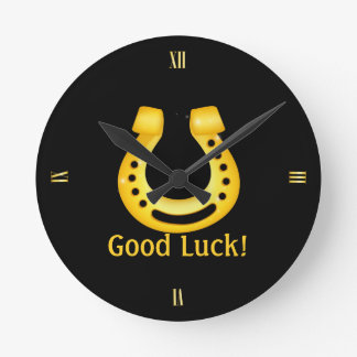 Relógio Redondo Boa sorte em ferradura