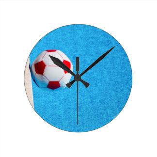 Relógio Redondo bola de praia Vermelho-branca que flutua na