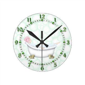 Relógio Redondo Bolhas verdes do banheiro