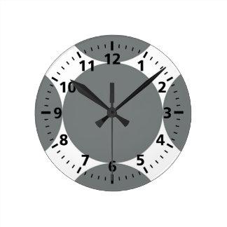 Relógio Redondo Bolinhas cinzentas no teste padrão retro branco