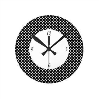 Relógio Redondo Bolinhas preto e branco na moda com números