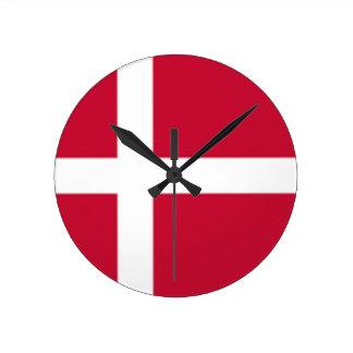 Relógio Redondo Bom impressão da bandeira de Dinamarca da cor