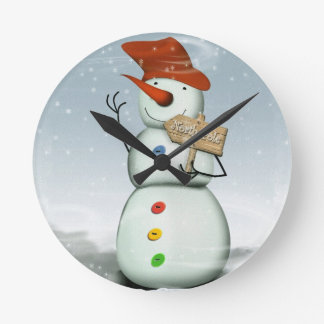 Relógio Redondo Boneco de neve encadernado do Pólo Norte