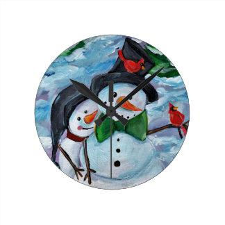 Relógio Redondo Bonecos de neve de visita cardinais