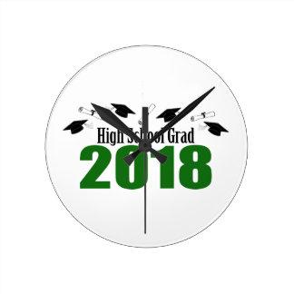 Relógio Redondo Bonés do formando 2018 do segundo grau e diplomas