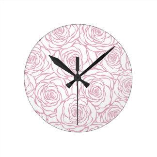 Relógio Redondo bonito, floral.pink, branco, peônias, femininos,
