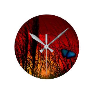 Relógio Redondo Borboleta azul