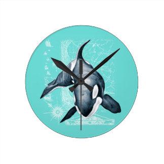 Relógio Redondo Branco da cerceta da orca