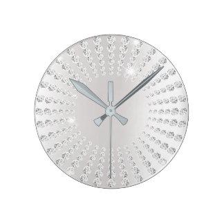 Relógio Redondo Branco de cristal do diamante da gema de Ombre das