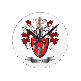 Relógio Redondo Brasão da crista da família de Howell