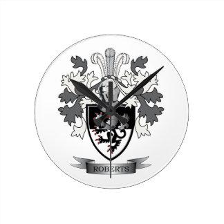 Relógio Redondo Brasão da crista da família de Roberts