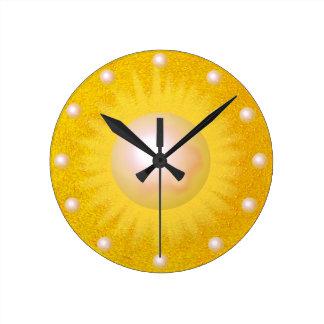 Relógio Redondo Brilhante ensolarado amarelo dourado de Sun da luz