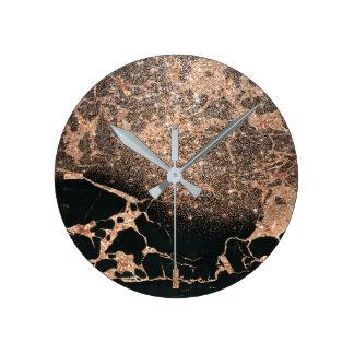 Relógio Redondo Brilho cor-de-rosa do cobre do ouro da pedra de